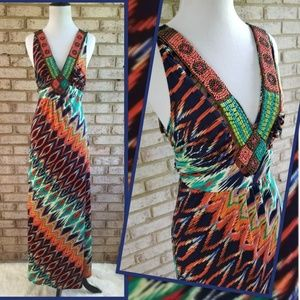 New Spark Tie Die Print Beaded Long Dress Dress